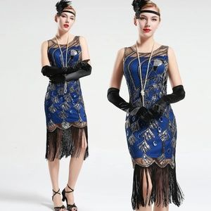 Peacock Sequin Fringed Party Flapper Dress BLUE